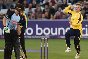 Mason Crane in action for Hampshire.