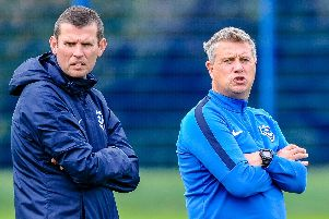 Pompey Academy boss Mark Kelly, right, and head of academy recruitment Dave Wright. Picture: Colin Farmery