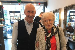Richard Taylor, 75, with his friend Dame June Whitfield, who died on Friday aged 93. The photo was taken two weeks ago.
