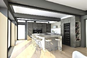 Part of the winning design, featuring the modern wine rack