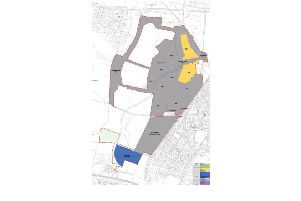 Part one of the Whitehouse Farm scheme. The first phase of housing development is shaded in yellow, with the location of the sports facilities in blue