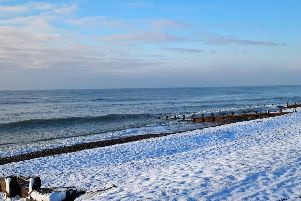 Ann Winchester took this photo while one a walk along a snowy Goring beach