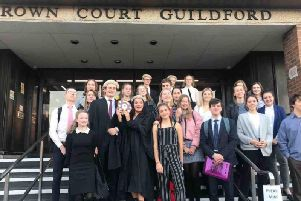 Bishop Luffa sixthformers at Guildford Crown Court