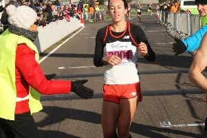 Stephanie Twell crosses the line / Picture by Derek Martin