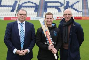 Gary Stanley, chairman of the Sussex Cricket League and a Sussex Cricket Board Member (left), and Nick Wilton, Gray-Nicolls brand manager (right) with Sussex Cricket club captain Ben Brown (centre), who also plays for Eastbourne in the premier division of the Sussex Cricket League. Photo: Sussex Cricket