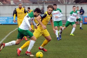 Harvey Whyte sets up a Rocks attack againat Hornchurch / Picture by Kate Shemilt