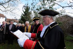 ks1900118-1 Chichester Alms Houses  phot kate'Town Crier Cllr Richard Plowman making a proclamation at the start of the ceremoney of digging the first sod of the new Almshouses.ks1900118-1 SUS-191003-102535008