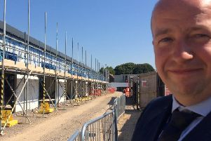 Headteacher of The Academy, Selsey, Tom Garfield at the building site. SUS-180307-180402001