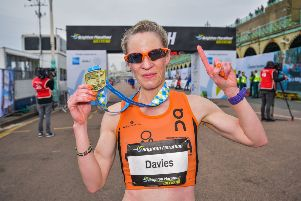 Helen Davies winning the Brighton Marathon in 2018 (Credit: Grounded Events)