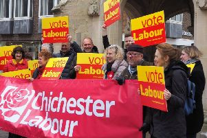 Chichester Labour members launching their election campaign and manifesto at the city's market cross