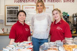 Ferne meets volunteers at the hospital in Brighton. Photo: Matt Crossick/PA Wire