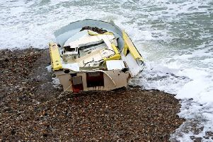 The boat once it had been tied down. Picture via Selsey Coastguard Rescue Team