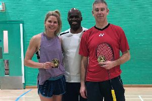 Winners Ian Sewell and Rachel Dekker with organiser Ernie Bartley