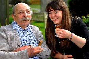 Dovecote View, chichester are awarded good CQC status, home manager Talisa Challis celebrates with one of her residents. Pic Steve Robards SR1910781 SUS-190425-195459001