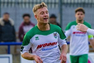 Mason Walsh celebrates a Rocks goal at Wingate and Finchley in March / Picture by Tommy McMillan