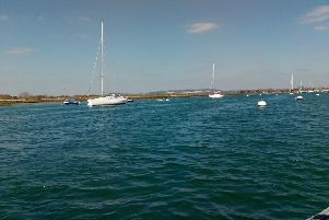 On the water in Chichester Harbour, with the view to Kingley Vale. Picture: Elaiine Hammond