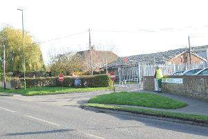 The entrance to the Westhampnett depot off Stane Street
