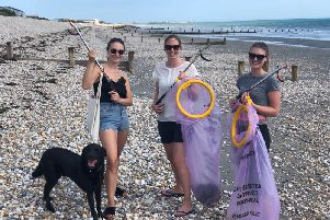 Litter picking on Bracklesham beach