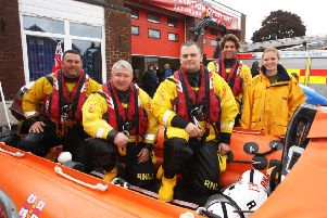 Littlehampton RNLI crew members at the Littlehampton Fire Station open day in 2016. Photo by Derek Martin DM16146134a