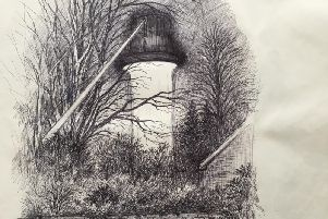 One of Colin sketches of the UFO scanning the trees in Chichester