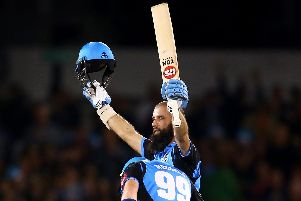 Moeen Ali celebrates his ton. Picture by Getty Images