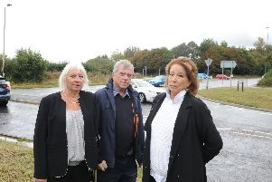 (Left to right) Jacky Pendleton, Arun district and Middleton-on-Sea parish councillor, with Pamela Godrey and Terry Tindall from Elmer Sands residents group. Photo: Kate Shemilt. ks190498-4