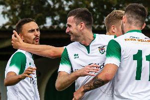 The Rocks celebrate against Sittingbourne - Jimmy Muitt, on the left, got two / Picture by Tommy McMillan