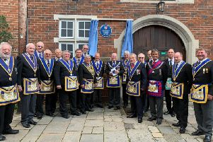 Members of the Lodge of Union 38 outside Pallant Suite on Sunday