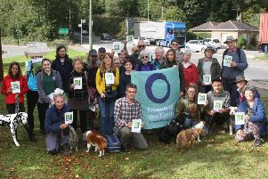 DM19101831a.jpg. Arundel Bypass: Friends of the Earth continues challenge to scheme, and calls for Highways England to be scrapped. Friends of the Earth's Chief Executive, Craig Bennett and supporters beside the A27 in Arundel. Photo by Derek Martin Photography.