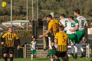 James Crane (No2) leaps to head Bognor into the lead / Picture by Tommy McMillan