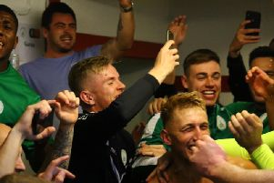 The celebrations in the dressing room at the Len Salmon Stadium / Picture by Jordan Colborne