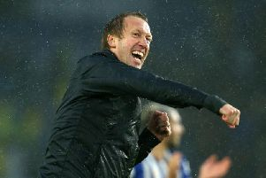 Brighton and Hove Albion manager Graham Potter celebrates victory against Everton