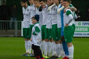 The pre-match minute's silence - marking Remembrance weekend and the recent death of Rocks stalwart Doug Glossop / Picture by Tommy McMillan