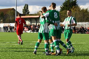 City celebrate one of the goals at Bowers and Pitsea that got them through to the first round / Picture by Jordan Colborne