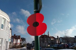 Giant poppies marked the way for the parad