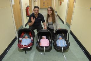 Cheryl Carter and Chris Pegrum from Yapton have triplets: Violet, Frank, and William. Cheryl, 34, and Chris, 33, from Blenheim Road, Yapton, with her triplets
