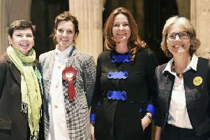 General election hustings at Chichester Cathedral. Heather Barrie (Green Party), Jay Morton (Labour), Gillian Keegan (Conservative) and Kate  O'Kelly (Liberal Democrat).  Chichester Cathedral Cloisters.   Picture: Liz Pearce