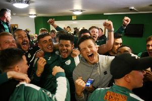 City celebrate their FA Cup first round after watching the draw at Oaklands Park / Picture by Daniel Harker