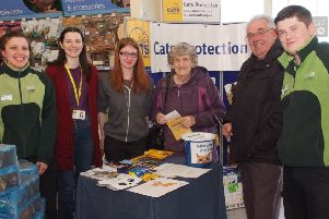 Pictured at the Cats Protection stand in Pets and Homes store are, from left, Sibylle Grasser, Pets at Home,  Katrina Killen, Branch Co-ordinator, Tasha Wilson, Joyce and Archie Orr, Mark Monahan, Pets at Home. incr13-205km