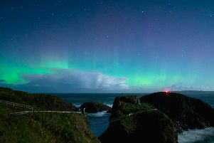 The Northern Lights at Carrick-a-Rede