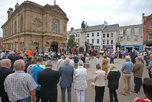 A service of reflection was held to mark the 45th anniversary of the Railway Road bombing in Coleraine. Relatives of those who died were among those who attended the event on Sunday, along with members of Causeway Coast and Glens Borough Council. Pic Steven McAuley/McAuley Multimedia
