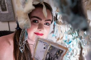Foundation Art and Design student Olivia Campbell, Portrush displays her textile work at North West Regional College's annual end of year Art Show at Limavady Campus.
