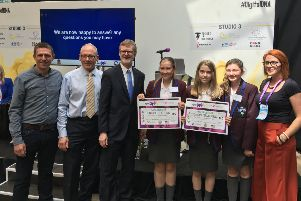 Winners Mi.Time being presented with their winning prize an expenses paid trip to Silicon Valley, California!