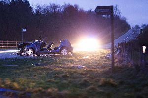 The scene of the serious RTC on the Windyhall Road Macosquin outside Coleraine involving a ford fiesta and a Range rover, seven people were involved, two in the Range Rover and five in the Fiesta, The Air Ambulance attended the scene.Pic Matt Steele/McAuley Multimedia