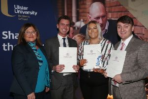 Catherine Hogg (centre) is presented with her award by Angela Doherty (left), Bank of Ireland along with joint winners Malcolm Lyttle and Stephen McPhillips.