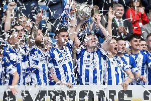 Coleraine's Stephen O'Donnell lifts the Irish Cup in 2018.