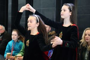 A giant celebration for St Patrick's Day as giants Finn and Benandonner join Irish dancers from the Dominic Graham School of Irish Dance! PICTURE KEVIN MCAULEY/MCAULEY MULTIMEDIA