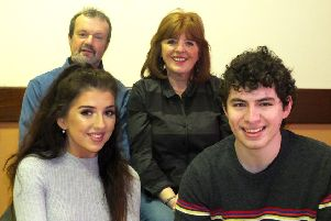 The cast of BLDS's 2019 Festival Show, Relatively Speaking. Back - Heaney Sayers and Sheila Mitchell. Front -  Sarah-Jayne McGill and Lucas Levy