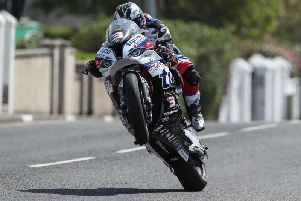 Michael Dunlop was second fastest on the Tyco BMW in Superbike practice on Tuesday. Picture: Desmond Loughery/Pacemaker Press.