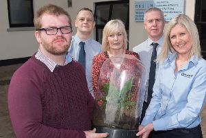 North West Regional College student Martin Grant, pictured at the launch of the new Recycling and Waste Management courses at North West Regional College, Greystone Campus, with Curriculum Manager Raymond Bolt, Lecturer Michelle Young, John McCarron, Environmental Resource Officer, Causeway Coast and Glens Council and Rhonda Armstrong, HR Manager RiverRidge Recycling. (Picture Martin McKeown).